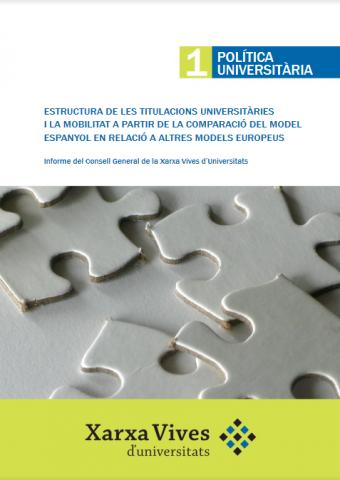 Book Cover: Estructura de les titulacions universitàries i la mobilitat a partir de la comparació del model espanyol en relació a altres models europeus