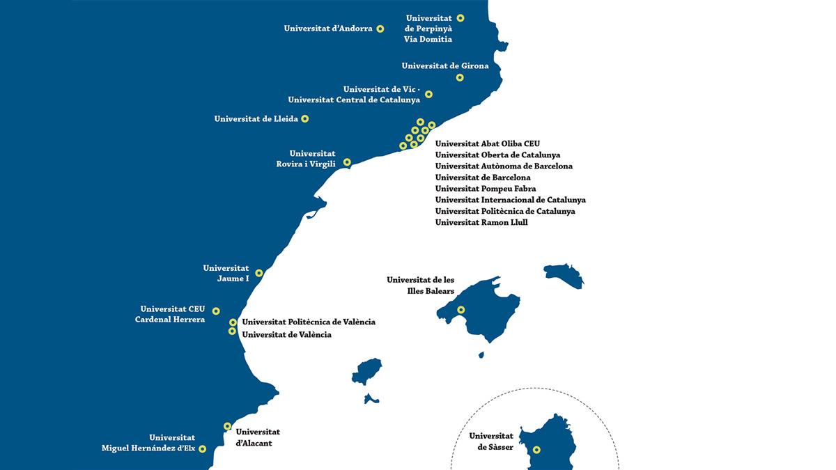 Mapa Xarxa Vives d'Universitats