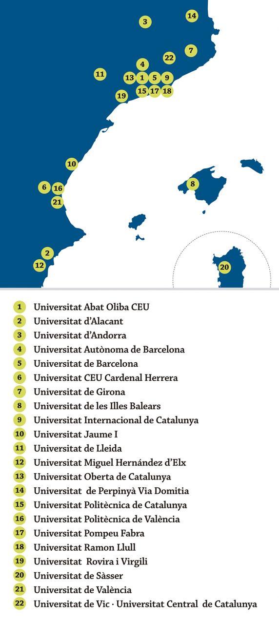 Mapa Xarxa Vives d'Universitats mòbils