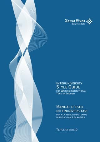 Book Cover: Manual d'estil interuniversitari per a la redacció de textos institucionals en anglès
