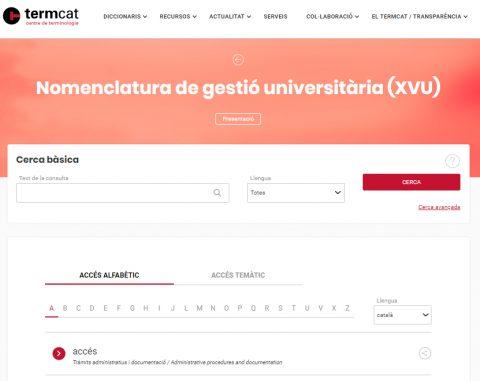 Nomenclatura gestió universitària