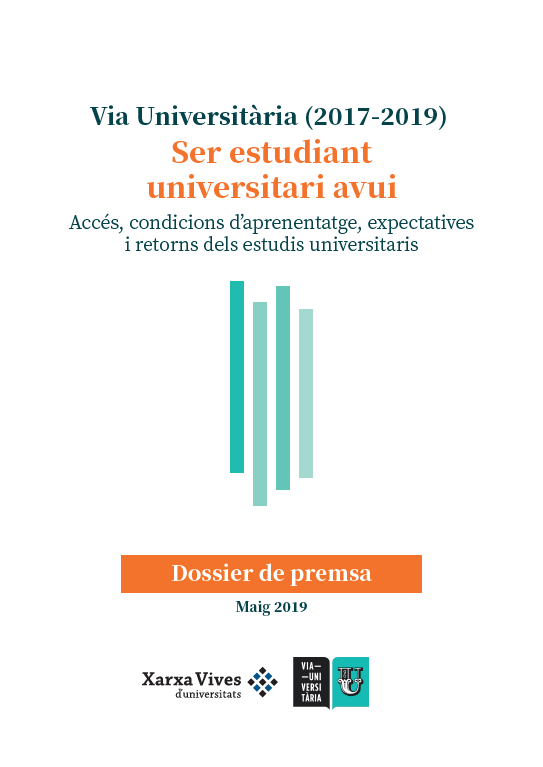 Book Cover: Via Universitària (2017-2019): Ser estudiant universitari avui. Dossier de premsa