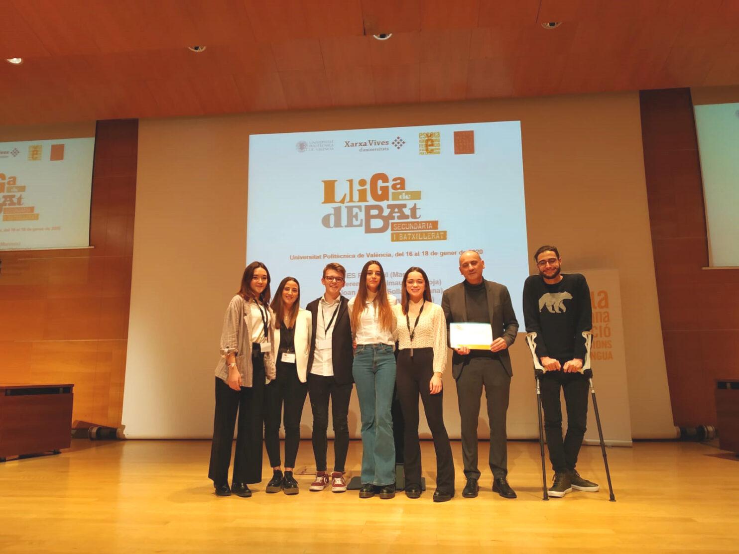 Equip campió fase local UPV. Lliga de Debat de Secundària i Batxillerat