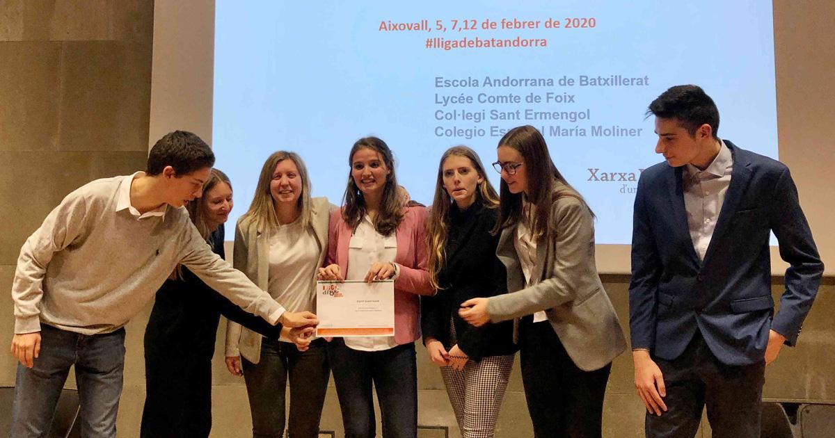 Equip campió de la fase local de la Universitat d'Andorra a la Lliga de Debat de Secudària i Batxillerat