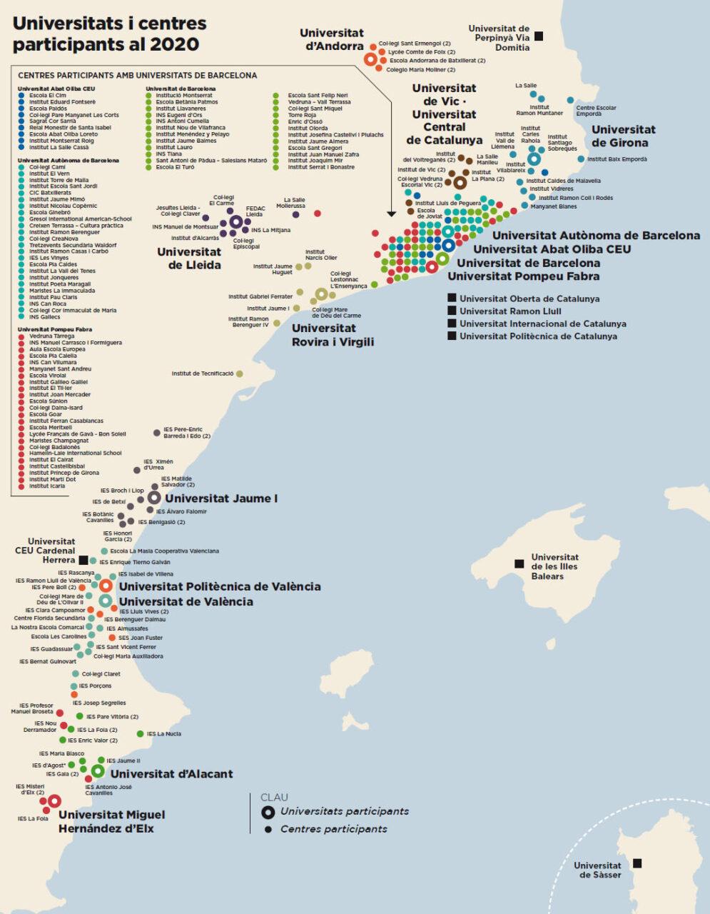 Mapa participació Lliga de Debat de Secundària i Batxillerat